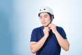 Asian guy with bicycle helmet and gloves Royalty Free Stock Photo