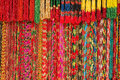 Asian hand made strands colorful beads at outdoor crafts market in Kathmandu, Nepal. Royalty Free Stock Photo