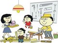 Asian home workshop cartoon Royalty Free Stock Photo