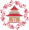 Asian house in a wreath of cherry stencil Royalty Free Stock Image