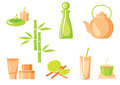 Asian icons vector set of spa Royalty Free Stock Photos