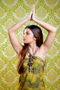 Asian Indian brunette girl with long hair dancing Stock Images