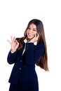Asian indian business woman talking mobile phone Royalty Free Stock Photo