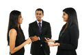 Asian Indian businessmen and businesswoman in group. Royalty Free Stock Photo