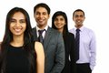 Asian Indian businessmen and businesswoman in a group.