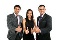 Asian Indian businessmen and businesswoman in group with thumbs up