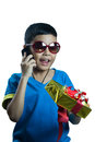 Asian kid call to his friend and tell about a gift on white background Royalty Free Stock Image