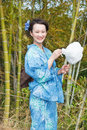 Asian kimono woman with bamboo grove cotton candy Royalty Free Stock Photo