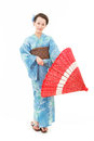 Asian kimono woman with white background japanese red traditional umbrella Royalty Free Stock Photos