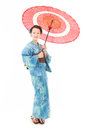 Asian kimono woman with white background japanese red traditional umbrella Royalty Free Stock Images