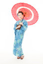 Asian kimono woman with white background japanese red traditional umbrella Stock Photo