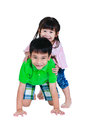 Asian kindly brother hugging his sister smiling happy together, Royalty Free Stock Photo