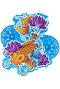 Asian koi fish drawn tattoo style lotus ornaments Royalty Free Stock Photo