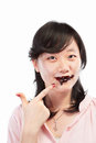 Asian lady and chocolate Stock Image