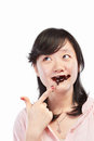 Asian lady and chocolate Stock Photo