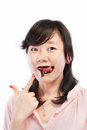 Asian lady and chocolate Royalty Free Stock Photography