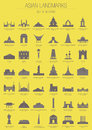 Asian landmarks set of editable vector from different countries in asia Stock Photos