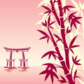 Asian landscape vector image of traditional in red colors Royalty Free Stock Photography