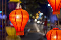 Asian lanterns in downtown thailand Royalty Free Stock Images