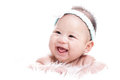 Asian laughing baby with white background Stock Photo