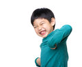 Asian little boy feeling excited and hand up isolated on white Royalty Free Stock Photos