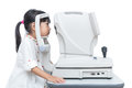 Asian Little Chinese Girl Doing Eyes Examination by ophthalmolog