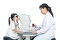 Asian Little Chinese Girl Doing Eyes Examination Through Auto re Royalty Free Stock Photo