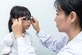 Asian Little Chinese Girl Doing Eyes Examination Through Auto re