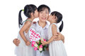Asian Little Chinese Girls celebrating mother`s day with mom Royalty Free Stock Photo