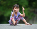Asian little girl at the garden Royalty Free Stock Photography