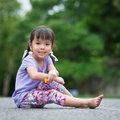 Asian little girl at the garden Stock Photography