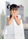 asian little girl get lost with parent information Royalty Free Stock Photo