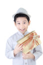 Asian lovely boy with giftbox on white background Royalty Free Stock Images