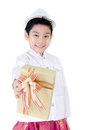 Asian lovely boy with giftbox on white background Royalty Free Stock Photo