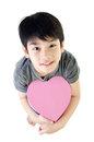 Asian lovely boy with heart giftbox on white background Stock Photography