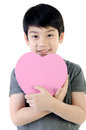 Asian lovely boy with heart giftbox on white background Royalty Free Stock Photo
