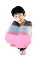 Asian lovely boy with heart giftbox on white background Stock Images