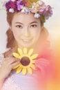 Asian lovely girl smile close up Stock Photos