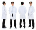 Asian male beauty therapist in beautician uniform full body with confident smile standing different angle front back and side Stock Image