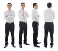 Asian male in different angle full body arms folded businessman front side and rear view standing isolated on white background Stock Photos