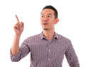 Asian male finger pointing up portrait of a happy business man of isolated on white background Royalty Free Stock Images