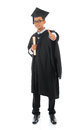 Asian male university student in graduation gown thumb up full body isolated on white background Stock Image