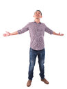 Asian man arms opened looking up happy full body standing isolated on white background male model Stock Photo