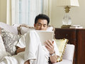 Asian man businessman working from home Stock Photography