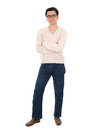 Asian man in casual wear front view full body standing isolated on white background male model Stock Photo