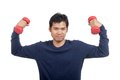 Asian man happy hold dumbbell with both hand isolated on white background Stock Images