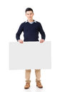 Asian man holding a blank board Royalty Free Stock Photo