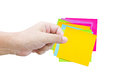 Asian Man's Hand Hold The Colorful Sticky Notes. Royalty Free Stock Photo