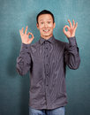 Asian Man Shows OK Royalty Free Stock Photo