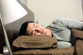 Asian Man sleeping Stock Images